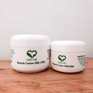CBD and CBG Muscle Cream 2 white pots