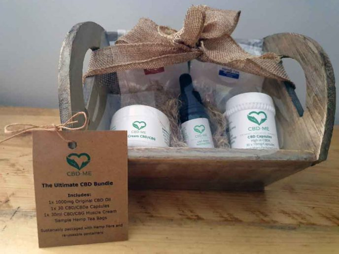 CBD gift set in wooden tray and hessian bow